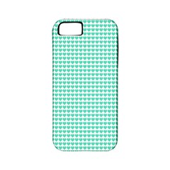 Tiffany Aqua Blue Candy Hearts on White Apple iPhone 5 Classic Hardshell Case (PC+Silicone)