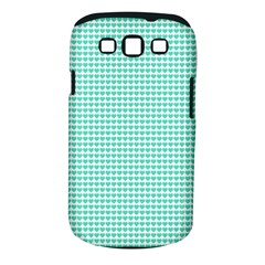 Tiffany Aqua Blue Candy Hearts on White Samsung Galaxy S III Classic Hardshell Case (PC+Silicone)