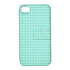 Tiffany Aqua Blue Candy Hearts on White Apple iPhone 4/4S Hardshell Case with Stand