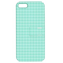 Tiffany Aqua Blue Candy Hearts On White Apple Iphone 5 Hardshell Case With Stand