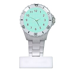 Tiffany Aqua Blue Candy Hearts on White Plastic Nurses Watch