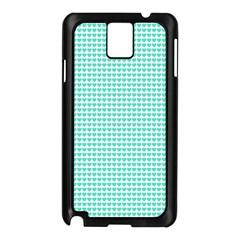 Tiffany Aqua Blue Candy Hearts on White Samsung Galaxy Note 3 N9005 Case (Black)