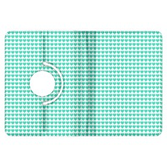 Tiffany Aqua Blue Candy Hearts on White Kindle Fire HDX Flip 360 Case