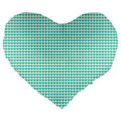 Tiffany Aqua Blue Candy Hearts on White Large 19  Premium Flano Heart Shape Cushions