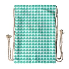 Tiffany Aqua Blue Candy Hearts on White Drawstring Bag (Large)