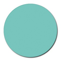 Tiffany Aqua Blue Puffy Quilted Pattern Round Mousepads