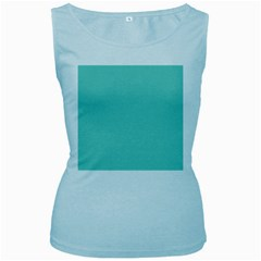 Tiffany Aqua Blue Puffy Quilted Pattern Women s Baby Blue Tank Top
