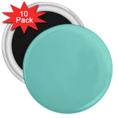 Tiffany Aqua Blue Puffy Quilted Pattern 3  Magnets (10 pack)