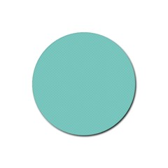 Tiffany Aqua Blue Puffy Quilted Pattern Rubber Coaster (Round)