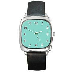 Tiffany Aqua Blue Puffy Quilted Pattern Square Metal Watch