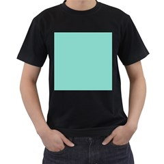 Tiffany Aqua Blue Puffy Quilted Pattern Men s T-Shirt (Black) (Two Sided)