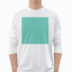 Tiffany Aqua Blue Puffy Quilted Pattern White Long Sleeve T-Shirts