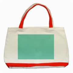 Tiffany Aqua Blue Puffy Quilted Pattern Classic Tote Bag (Red)