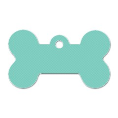 Tiffany Aqua Blue Puffy Quilted Pattern Dog Tag Bone (One Side)