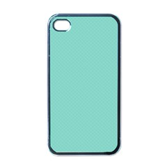 Tiffany Aqua Blue Puffy Quilted Pattern Apple iPhone 4 Case (Black)