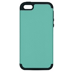 Tiffany Aqua Blue Puffy Quilted Pattern Apple iPhone 5 Hardshell Case (PC+Silicone)
