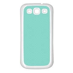 Tiffany Aqua Blue Puffy Quilted Pattern Samsung Galaxy S3 Back Case (White)