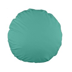 Tiffany Aqua Blue Puffy Quilted Pattern Standard 15  Premium Flano Round Cushions