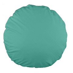Tiffany Aqua Blue Puffy Quilted Pattern Large 18  Premium Flano Round Cushions