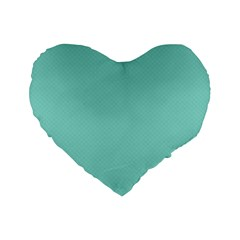 Tiffany Aqua Blue Puffy Quilted Pattern Standard 16  Premium Flano Heart Shape Cushions