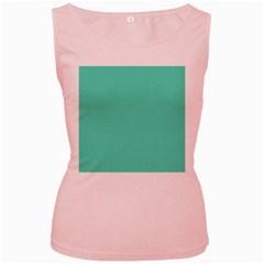 Classic Tiffany Aqua Blue Solid Color Women s Pink Tank Top