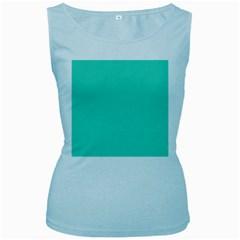 Classic Tiffany Aqua Blue Solid Color Women s Baby Blue Tank Top