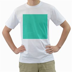 Classic Tiffany Aqua Blue Solid Color Men s T-Shirt (White) (Two Sided)
