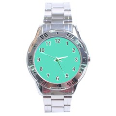 Classic Tiffany Aqua Blue Solid Color Stainless Steel Analogue Watch