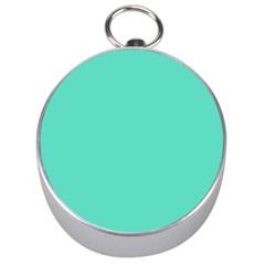Classic Tiffany Aqua Blue Solid Color Silver Compasses