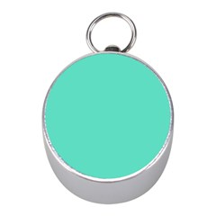 Classic Tiffany Aqua Blue Solid Color Mini Silver Compasses