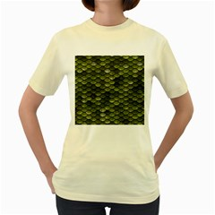 Green Scales Women s Yellow T-Shirt
