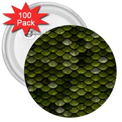 Green Scales 3  Buttons (100 pack)