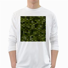 Green Scales White Long Sleeve T-Shirts