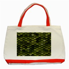 Green Scales Classic Tote Bag (Red)