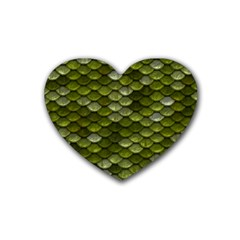 Green Scales Heart Coaster (4 pack)