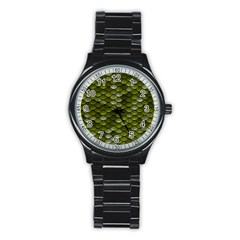 Green Scales Stainless Steel Round Watch