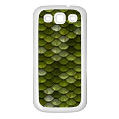 Green Scales Samsung Galaxy S3 Back Case (White)