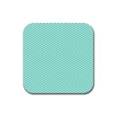 Tiffany Aqua Blue Chevron Zig Zag Rubber Coaster (Square)