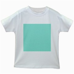Tiffany Aqua Blue Chevron Zig Zag Kids White T-Shirts