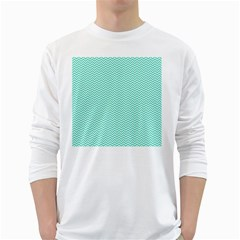 Tiffany Aqua Blue Chevron Zig Zag White Long Sleeve T-Shirts