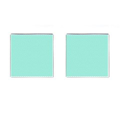 Tiffany Aqua Blue Chevron Zig Zag Cufflinks (Square)
