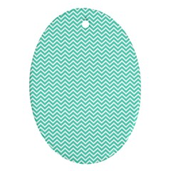 Tiffany Aqua Blue Chevron Zig Zag Oval Ornament (Two Sides)