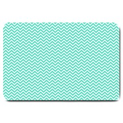 Tiffany Aqua Blue Chevron Zig Zag Large Doormat