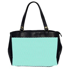 Tiffany Aqua Blue Chevron Zig Zag Office Handbags (2 Sides)