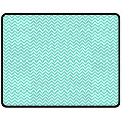 Tiffany Aqua Blue Chevron Zig Zag Fleece Blanket (Medium)