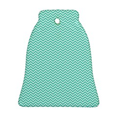 Tiffany Aqua Blue Chevron Zig Zag Bell Ornament (Two Sides)