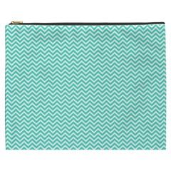 Tiffany Aqua Blue Chevron Zig Zag Cosmetic Bag (XXXL)