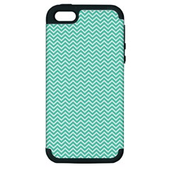 Tiffany Aqua Blue Chevron Zig Zag Apple iPhone 5 Hardshell Case (PC+Silicone)