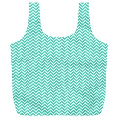Tiffany Aqua Blue Chevron Zig Zag Full Print Recycle Bags (L)