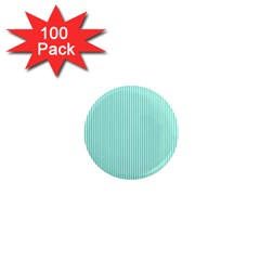 Classy Tiffany Aqua Blue Sailor Stripes 1  Mini Magnets (100 pack)